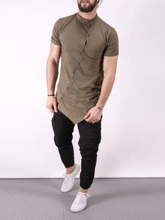 K&B Men Moved Buttons Mock Neck T-shirt - Army Green