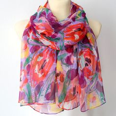 Seta sciarpa di Chiffon floreale  madri giorno di LocoTrends