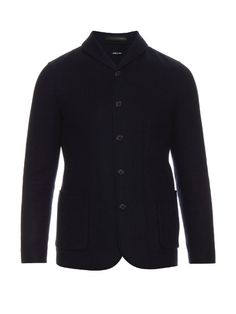 GIORGIO ARMANI Shawl-Collar Wool And Cashmere Blazer. #giorgioarmani #cloth #blazer