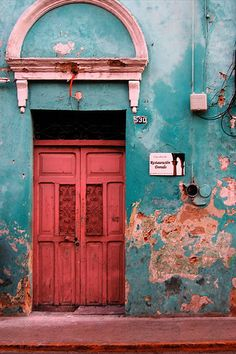 red old door
