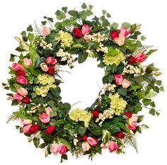 Hydrangea, Tulip, and Berry Silk Wreath 28 Inch - List price: $229.00 Price: $189.00