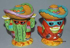 "Dos Amigos Margarita Southwestern Salt & Pepper Shakers 5"" Chili FUNNY Cactus NW"