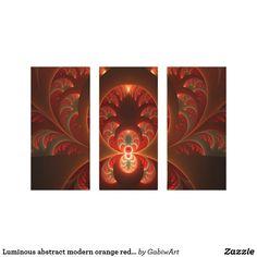 Luminous abstract modern orange red Fractal Canvas Print