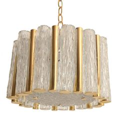 Cut Glass And Brass  Ceiling Fixture