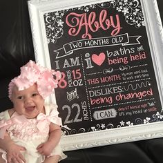 Monthly baby stats sign package - designed by Teal Olive Designs - any design! Monthly packages available Monthly Baby Photos, Monthly Pictures, Baby Monthly Milestones, Baby Girl Photos, Baby Pictures, 6 Month Baby Picture Ideas, First Birthday Sign, Baby Monat Für Monat, Chalkboard Baby