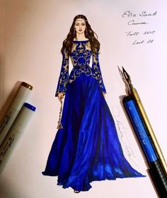 Elie Saab Couture Fall 2017 collection 💙💛( pitt artist pens on blending card)… Dress Design Sketches, Fashion Design Sketchbook, Fashion Design Drawings, Fashion Sketches, Dress Illustration, Fashion Illustration Dresses, Elie Saab Couture, Fashion Drawing Dresses, Fashion Dresses