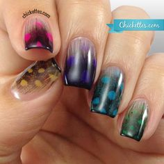 Chickettes.com feather manicure using gel polish