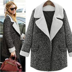 'Pascaline' Grey Marl Shearling Lapel Collar Cocoon Coat
