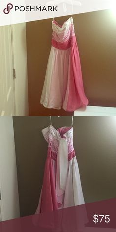Vintage Betsey Johnson pink dress Worn twice. Strapless multi pink dress that is very flattering. The back can be tied into multiple bows. Dresses Strapless