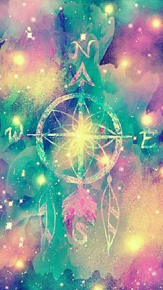 Compass dreamcatcher galaxy iPhone/Android wallpaper I created for the app CocoPPa!