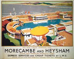 'Morecambe and Heysham', LMS travel poster, London Midland & Scottish Railway poster. Artwork by Frank Sherwin. Derby, Fine Art Prints, Canvas Prints, Framed Prints, England Travel Poster, Pool Umbrellas, British Travel, Travel Uk, Train Travel
