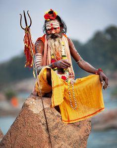 Sadhu on a rock