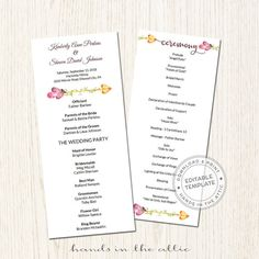 Editable Fall Wedding Program Template Autumn Flowers Fall Flowers