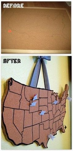 Make your own cork board map to track all the places you have been!