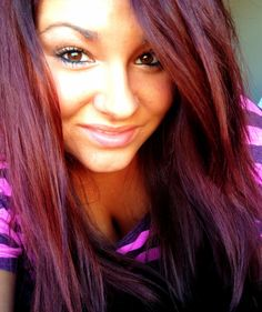 Love this hair color! Red-violet...I would do as a shadow, underneath brown that is a couple shades darker than my natural color