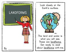 Emergent Reader Book: LANDFORMS *Kindergarten or First Grade Social Studies (color/blk & white printing options.) $
