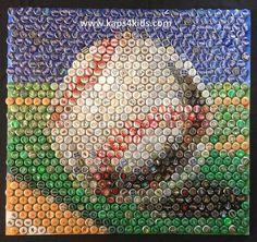 Mosaic of a baseball created from 825 various bottle caps. None of the bottle caps are painted or modified. This image is not computer generated.