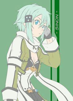 Pls call me Sinon! Sinon Ggo, Kirito, Sword Art Online Asuna, Kunst Online, Online Art, Sao Characters, Accel World, Anime Crossover, Anime Artwork