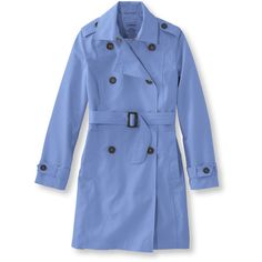 L.L.Bean Crosstown Trench Coat  Misses Petite (1 095 SEK) ❤ liked on Polyvore featuring outerwear, coats, l.l.bean, water resistant coat, blue coat, petite trench coat and water resistant trench coat