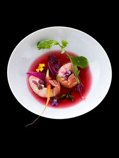 Nage (broth) of langoustines and hibiscus flower by chef Kei Kobayashi. © Richard Haughton - See more at: http://theartofplating.com/editorial/kei-kobayashi-picasso-in-the-kitchen/