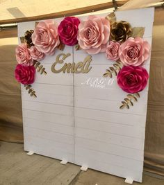 """Blanca on Instagram: """"💖✨lovely PAPER FLOWER BACKDROP for special Quinceaños ✨✨ custom name made by @claudias_creations_ #paperflowers #paperflowerdecor"""