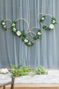 Greenery Wreaths with Roses (Set of - Ling's moment Rustic Wedding Backdrops, Boho Wedding Decorations, Bridal Shower Decorations, Wedding Centerpieces, Wedding Backdrop Design, Wedding Ideas, Diy Wedding Wreath, Woodland Decor, Woodland Wedding