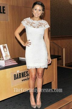 Not a fan of her's but love the dress!   Lauren Conrad Short White Lace Party Dress Cocktail Dresses - TheCelebrityDresses