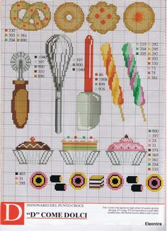 Candy and Cookies Cross Stitch Boards, Mini Cross Stitch, Cross Stitch Kits, Cross Stitch Designs, Cross Stitch Patterns, Cross Stitching, Cross Stitch Embroidery, Cross Stitch Geometric, Cross Stitch Kitchen