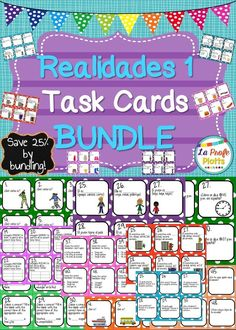 Do you use the Realidades textbook in your Spanish classroom? Save 25% when you buy this task card bundle that covers ALL chapters in the Realidades 1 textbook. Students will be engaged and get a great review!