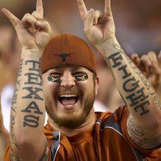 A true, real deal Texas Longhorns fan. Longhorn Tattoo, Texas Longhorns Baseball, Red River Rivalry, Eyes Of Texas, Sport Tattoos, Only In Texas, Hook Em Horns, Texas Flags, Texas History