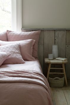 In a beautifully subtle shade of blush pink, the Lisbon Linen bed linen is garment washed and supersoft, a true must have for your bed linen collection. Also available in Silver Grey, White, Slate and Pewter Grey. Blush Cushions, Pink Bedroom Design, Bed Linen Design, Linen Duvet, Large Pillows, Bed Spreads, Luxury Bedding, The Ordinary, La Perla Lingerie