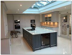70 Awesome Roof Lantern Extension Ideas – The Urban Interior Shaker Kitchen, New Kitchen, Kitchen Dining, Kitchen Island Hob, Floors Kitchen, Kitchen Black, Kitchen Ideas, Tom Howley Kitchens, Kitchen Diner Extension