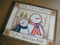 Country Primitive Wood Americana SNOWMAN Sign by carolalden, $9.95