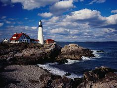 Portland Head Lighthouse on Cape Elizabeth, Portland, Maine, USA  There's something cool and mysterious about lighthouses; Would love to live near one!