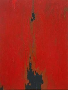 "..      1949-G, (1949)  Clyfford Still    ""By eliminating the distinction between figure and ground, Clyfford Still created paintings that confront the viewer with unmediated fields of colour. The black and craggy forms that punctuate the expansive red may remind us of landscape, but specific subject matter and meaning remain elusive. Like many of his contemporaries, Still refused to give his works titles that would confer fixed meaning, designating them only by the year and sequence in…"