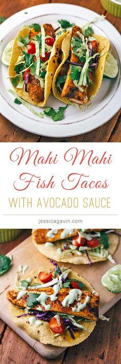 Blackened Mahi Mahi Fish Tacos with Avocado Lime Sauce | jessicagavin.com #tacotuesday