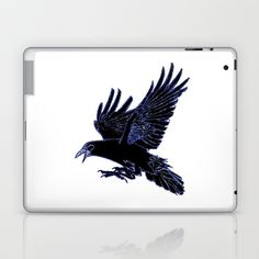 The Rook (Blue) Laptop & iPad Skin by Robert Lee - $25.00 #art #rook #raven #crow #iphone #ipod #ipad #galaxy #s4 #s5 #s6 #case #cover #skin #mug #bag #pillow #stationery #apple #mac #laptop #sweat #shirt #tank #top #clothing #clothes #hoody #kids #children #boys #girls #men #women #ladies #lines #love  #light #home #office #style #fashion #accessory #for #her #him #gift #want #need #love #print #canvas #framed #Robert #S. #Lee