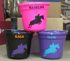 Our stable buckets every time you board you get a color of your choice and name and horse jumping in any color of your choice