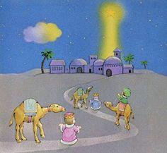 Ze volgen de ster tot in Bethlehem Christmas Jesus, Christmas Nativity, A Christmas Story, Frame Border Design, Happy Birthday Jesus, Christmas Drawing, Xmas Crafts, Christmas Wallpaper, Baby Quilts