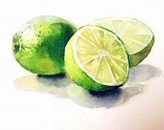 Watercolor painting-Lemon-Watercolor print-Wall by PinkLeavesArts