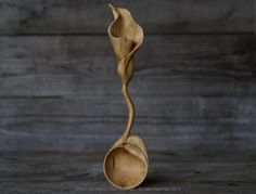 Hand carved Silver Birch Calla Lily spoon by Giles Newman