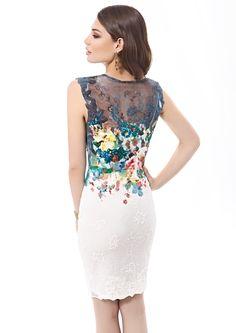 Inter Zeila 9427 | GN Design GroupINTER ZEILA 9427  Vestido corto en algodón y stretch estampado, con igual diseño floral en espalda sobre encaje