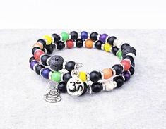 7 Chakra Wrap Bracelet Double Wrap Beaded Bracelet Memory | Etsy Wire Wrapped Bracelet, Beaded Wrap Bracelets, Gemstone Bracelets, Silver Bracelets, Bracelets For Men, Aromatherapy Jewelry, Birthstone Charms, Oil Diffuser, Chakra