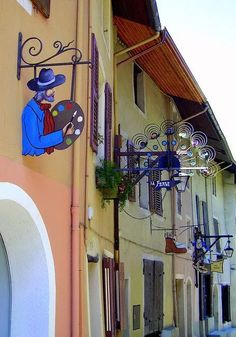 One of our stops will be the village of Conflans. The old street of a wonderful medieval village called Conflans, Savoie, France (by Old Street, Street Art, Medieval Village, Pub Signs, Shop Fronts, Store Signs, Advertising Signs, Hanging Signs, Painted Signs
