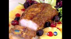 lombo interessante - começa na panela e acaba no forno - acompanha farofa de frutas cristalizadas e creme de milho