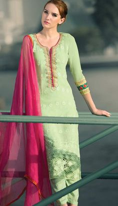 Buy online graceful Indian Traditional Light Green Chiffon #PakistaniDresses with different colors.. http://bit.ly/1wbTtmB