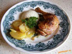 pečené kura a zemiaky v jednom pekáči:-)))