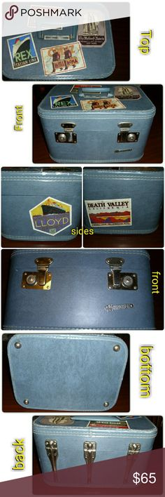 VINTAGE MONARCH TRAIN MAKEUP TRAVEL CASE!! Excellent condition! Double latching box, beautiful blue color with silver latches and hardware. Blue matching sturdy folding handle. Inside is a quilted bottom lined with plastic. An adjustable strap to keep bottles etc from falling over. It also has a removable mirror inside for extra touch ups on the go! A couple scuffs as pictured but overall amazing condition! The stickers are also vintage and were collected from the 40s. They are collectors…
