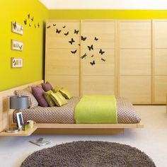 Butterfly Wall Murals in Small Japanese Bedroom Interior Furniture Decorating Designs Ideas Small Bedroom Ideas with Cozy Furniture and Wall Stickers Decoration Small Room Bedroom, Trendy Bedroom, Girls Bedroom, Bedroom Decor, Bedroom Ideas, Small Rooms, Modern Bedrooms, Master Bedroom, Bed Room