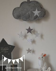 23 Clever DIY Christmas Decoration Ideas By Crafty Panda Sewing Kids Clothes, Sewing Toys, Sewing For Kids, Diy For Kids, Crafts For Kids, Mobiles, Cloud Craft, Diy Bebe, Diy Gifts For Friends